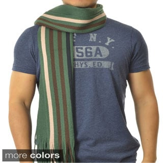 LA 77 Men's Striped Knit-fringe Scarf