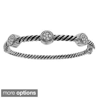 Sterling Silver 1/5ct TDW Diamond Circle Rope Texture Bangle (H-I, I2-I3)