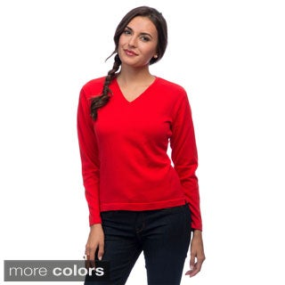 Women's Pima Cotton V-neck Sweater