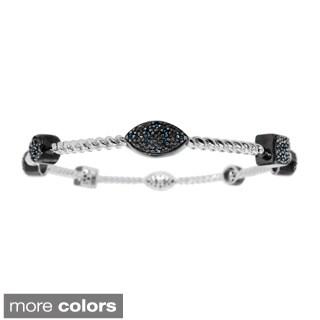 Sterling Silver 1/3ct TDW Blue or White Diamond Bangle Bracelet (H-I, I2-I3)