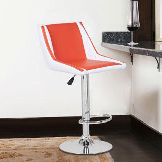 Adeco Orange/ White Cushioned Leatherette Adjustable Mid-back Barstool Chair w/ Chrome Finished Pedestal Base (Set of 2)