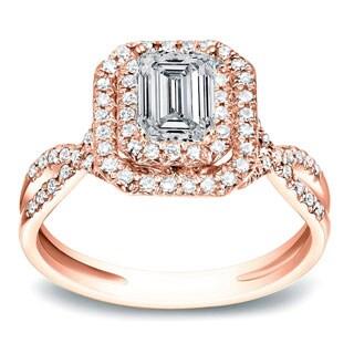 Auriya 14k Rose Gold 4/5 ct TDW Emerald Halo Diamond Engagement Ring (H-I, SI1-SI2)