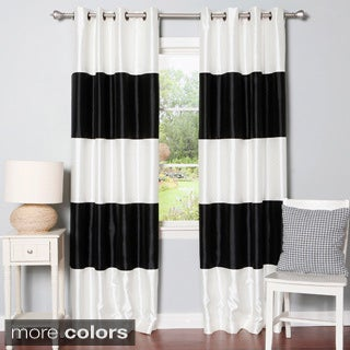 Striped Dupioni Grommet Top Blackout Curtain Panel Pair