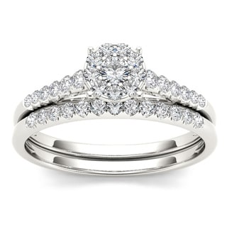 De Couer 10k White Gold 1/2ct TDW Diamond Wedding Bridal Set (H-I, I2) with Bonus Necklace