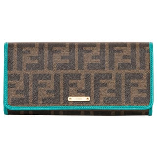 Fendi Zucca and Teal Bi-fold Wallet
