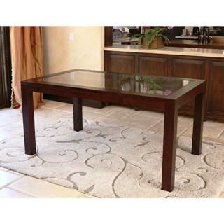 ABBYSON LIVING Montego Cappucino Wood and Glass Dining Table