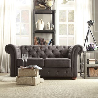 TRIBECCA HOME Knightsbridge Dark Grey Linen Tufted Scroll Arm Chesterfield Loveseat