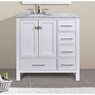 Malibu Pure White Single Sink 36-inch Bathroom Vanity