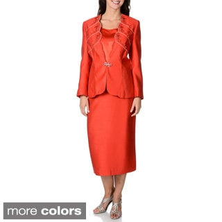 Giovanna Collection Women's Scalloped Neckline 3-piece Skirt Suit