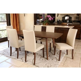 ABBYSON LIVING Leonis Walnut Wood Expandable 7-piece Dining Set
