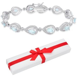 Dolce Giavonna Sterling Silver Blue Topaz and Diamond Accent Link Bracelet with Red Bow Gift Box