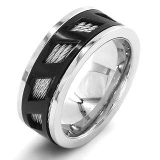 Crucible Black-plated Stainless Steel Cable Inlayed Graphic Ring