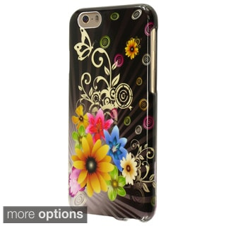 INSTEN Black Chromatic Flower Rubberized Hard Plastic Snap-on Phone Case Cover for Apple iPhone 6 4.7-inch