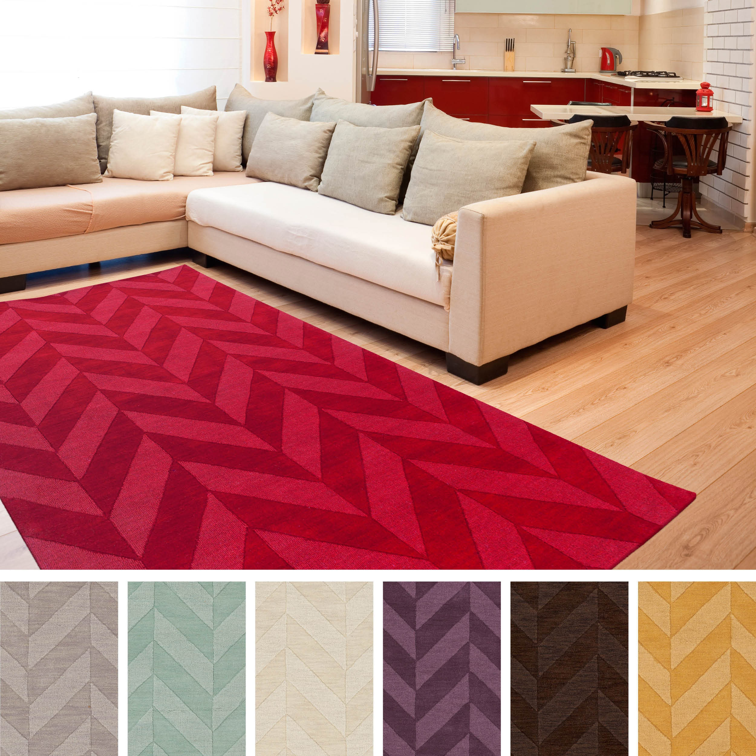 Artistic Weavers Hand-woven Ann Tone-on-Tone Geometric Zig-Zag Wool Area Rug (8' x 10')