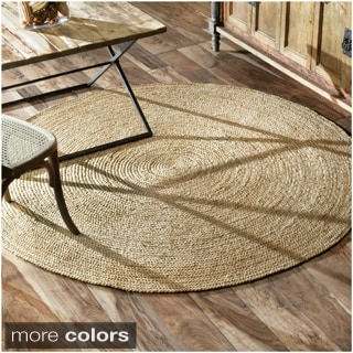 nuLOOM Alexa Eco Natural Fiber Braided Reversible Round Jute Rug (4')