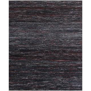 Handmade Textured Sari Silk Black Wool Rug (8' x 10')
