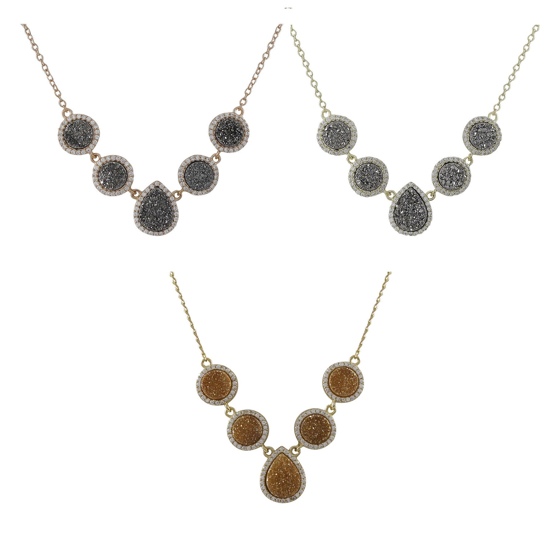 Rose or Yellow Goldplated Sterling Silver Druzy Quartz and Cubic Zirconia Necklace