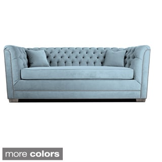 Decenni Custom Furniture Buckingham Wedgewood Velvet Tufted Sofa