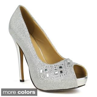 Celeste Women's 'Ingrid-04' Embellished Peep-toe Dress Pumps