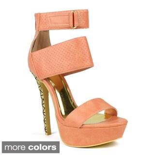 Fahrenheit Women's 'Divina-03' Perforated High-heel Platform Pumps