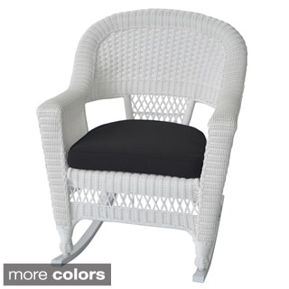White Rocker Wicker Chair with Cushions (Set of 2)