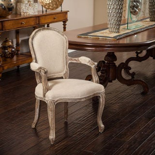 Maryland Fabric Weathered Wood Armchair