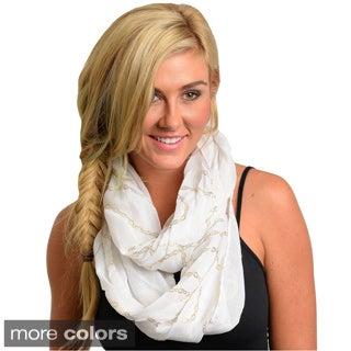 Feellib Women's Bold Metallic Chain Print Knit Infinity Scarf