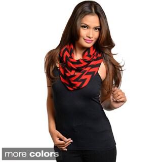 Feellib Women's Chevron Print Knit Infinity Scarf