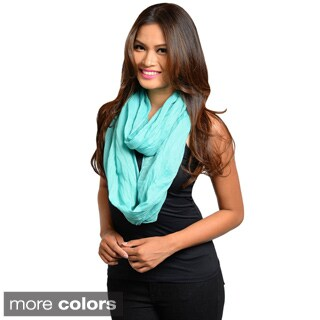 Feellib Women's Vibrant Solid Colored Infinity Scarf with Crinkle Fabric Design