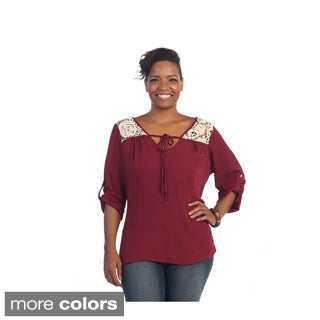 Hadari Women's Plus Size Lace Knit 3/4-length Sleeve Blouse