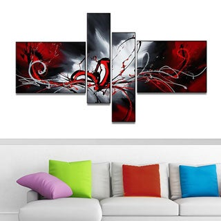 Red Abstract Splash' 4-panel Oil Painting