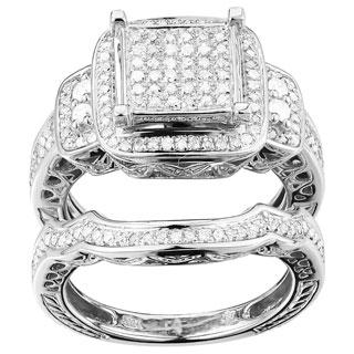 K.C. 10k White Gold 7/8ct TDW Diamond Ring Set (G-H, I1-I2)