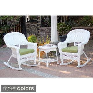 3-piece White Rocker Wicker Chair Set with Cushions