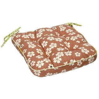 Brown Flower Print Organic Cotton Seat Cushion (Set of 2)