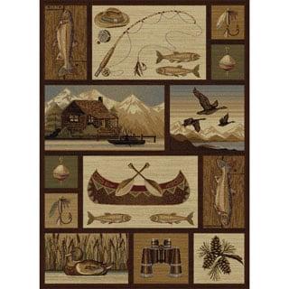 Alise Natural Brown Lodge Area Rug (5'3 x 7'3)