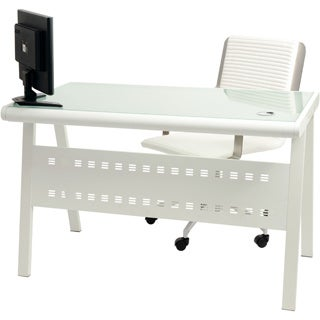 Wynter White Metal Frosted Glass Privacy Panel Computer Office Desk