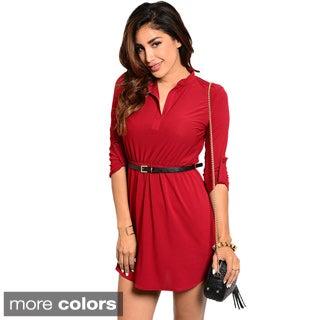 Stanzino Women's Belted 3/4-sleeve Shirt Dress