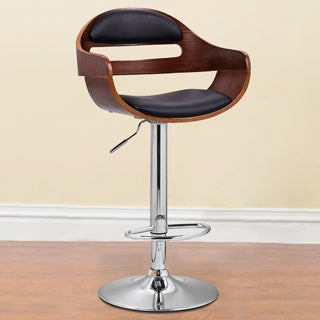 Adeco Walnut Off-black Double Vented Back Adjustable Swivel Bar Stool