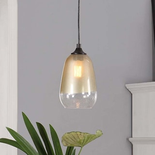 1-light Gold Dipped Glass Shade Pendant