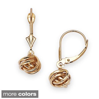 14k Yellow Gold Hanging Loveknot Leverback Earrings