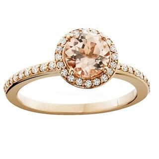 Bliss 14k Rose Gold 1/4ct TDW Diamond and Morganite Gemstone Halo Engagement Ring (H-I, I1-I2)