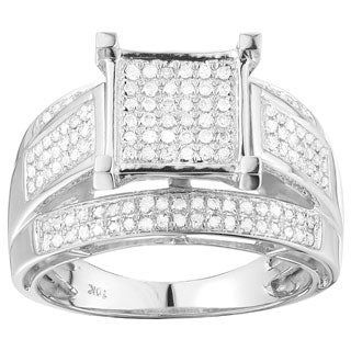 K.C. 10k White Gold 1/2ct TDW Pave Diamond Ring (G-H, I1-I2)