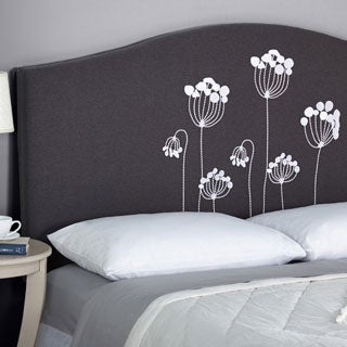 Simple Living Embroidered Floral Upholstered Queen Headboard