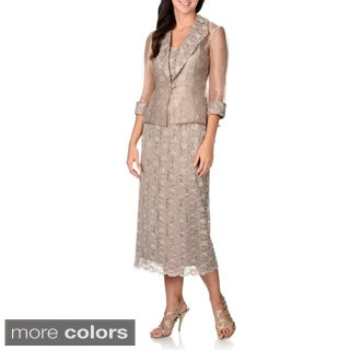 R & M Richards Women's Lace Dress and Sheer Jacket Set