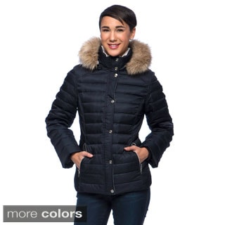 Nautica Women's Short Puffer with Contrast Quilting and Faux Fur Trimmed Hood
