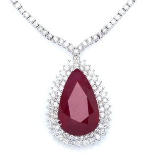 14K White Gold 39.31ct TW Ruby 12.19ct TDW Diamond Necklace
