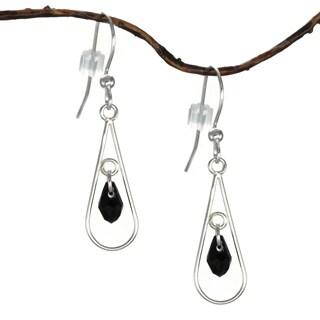 Jewelry by Dawn Sterling Silver Open Teardrop Black Crystal Dangle Earrings
