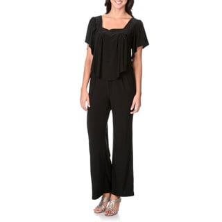 R & M Richards Women's Black Capulet Jumpsuit