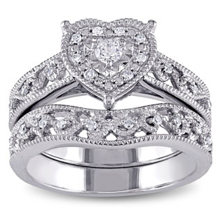 Miadora Sterling Silver 1/5ct TDW Diamond Bridal Heart Ring Set (H-I, I2-I3)