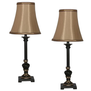 Aged Mahogany with Aged Gold Accent Table Lamp (Set of 2)